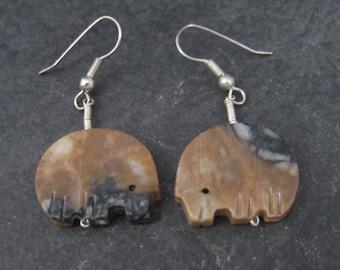 Vintage Southwestern Sterling Bison Fetish Earrings