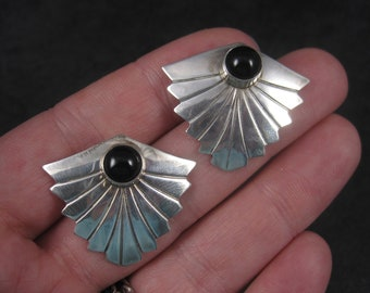Large Vintage Sterling Navajo Onyx Earrings