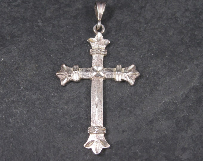 Vintage Sterling Diamond Cut Cross Pendant