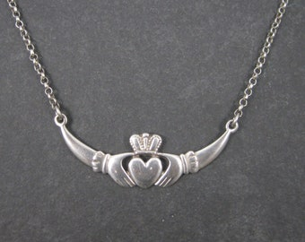 Vintage Irish Sterling Claddagh Necklace 21.5 Inches