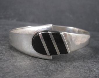Heavy Vintage Mexican Sterling Onyx Clamper Bangle Bracelet
