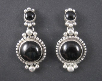 Vintage Southwestern Sterling Onyx Earrings