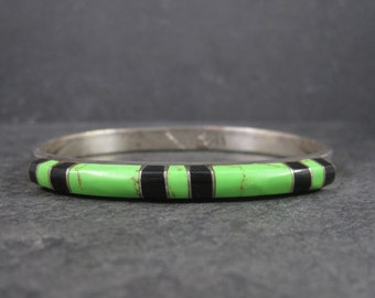 Vintage Mexican Sterling Gaspeite Onyx Bangle Bracelet 7.25 Inches