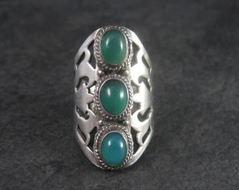 Large Vintage Sterling Green Blue Chalcedony Ring Size 7.5