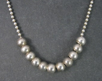 Vintage Italian Sterling Ball Chain Bead Necklace 14 Inches