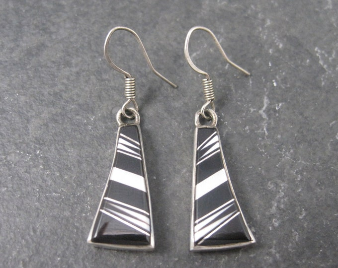 Vintage Southwestern Sterling Onyx White Coral Inlay Earrings