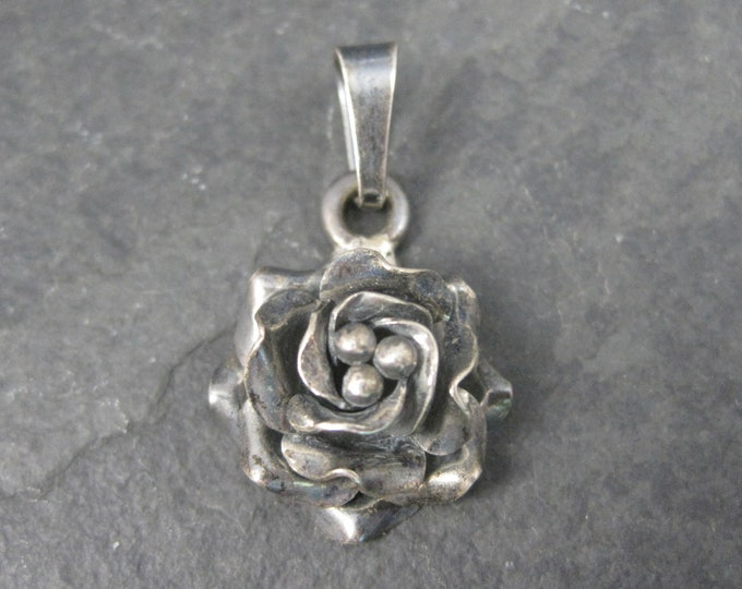 Vintage Mexican Sterling Dimensional Rose Pendant