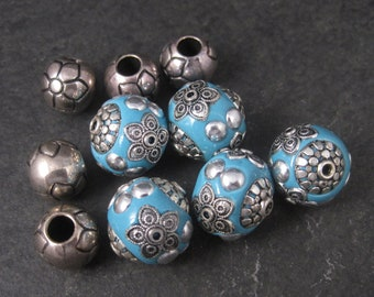 Destash Blue and Silver Floral Acrylic Polymer Bubblegum Beads