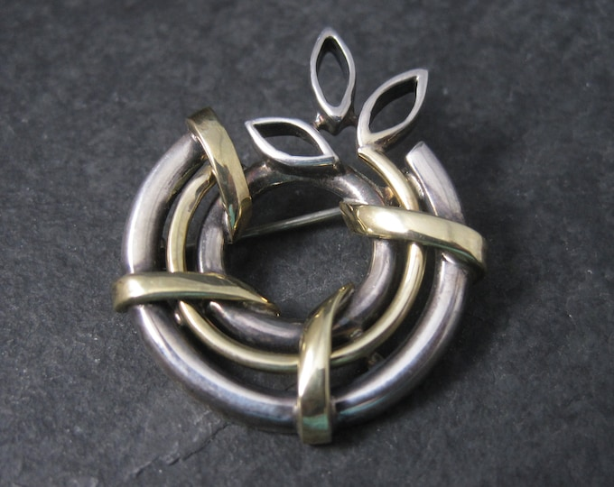Vintage Sterling 14K Wreath Brooch