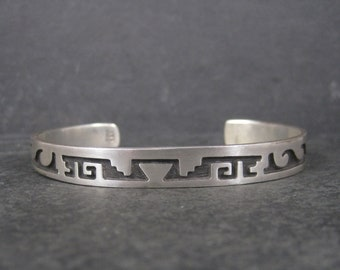Vintage Hopi Style Mexican Sterling Cuff Bracelet 7 Inches