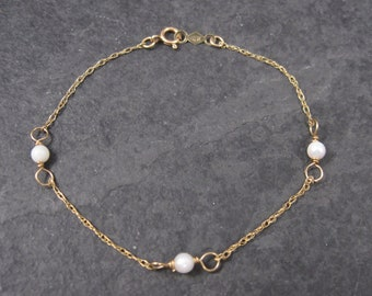 Childs Vintage 14k Pearl Bracelet 5 Inches