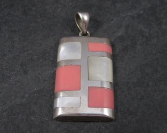 Vintage Sterling Pink Enamel Mother of Pearl Pendant