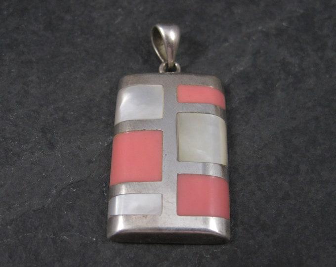 Vintage Sterling Pink Enamel Mother of Pearl Pendant