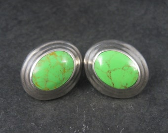 Large Vintage Mexican Sterling Gaspeite Earrings 1 Inch