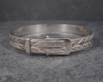 Vintage Sterling Belt Buckle Bangle Bracelet 7.25-7.5 Inches