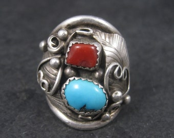 Vintage Navajo Sterling Turquoise Coral Dome RIng Size 8.5 E. Willoughby