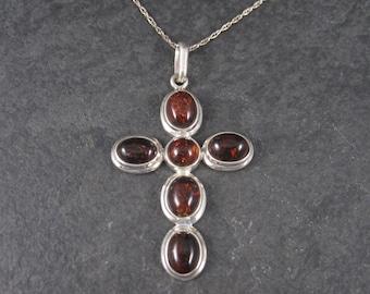 Vintage Sterling Amber Cross Pendant Necklace
