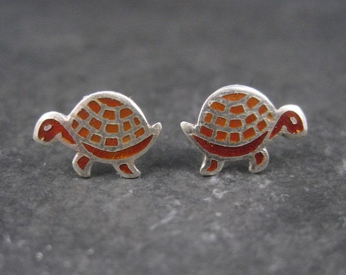 Vintage Sterling Enamel Turtle Stud Earrings