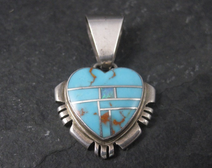 Vintage Southwestern Sterling Turquoise Inlay Heart Pendant