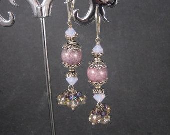 Handmade Sterling Pink Purple Earrings