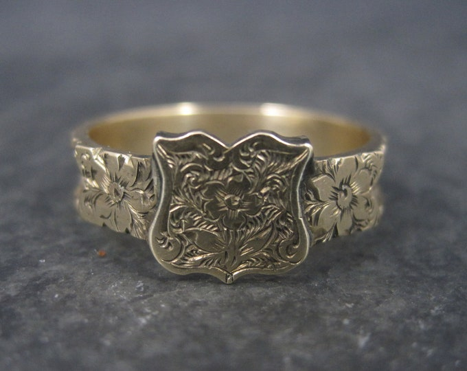 Victorian 10K Mourning Hair Ring Size 10