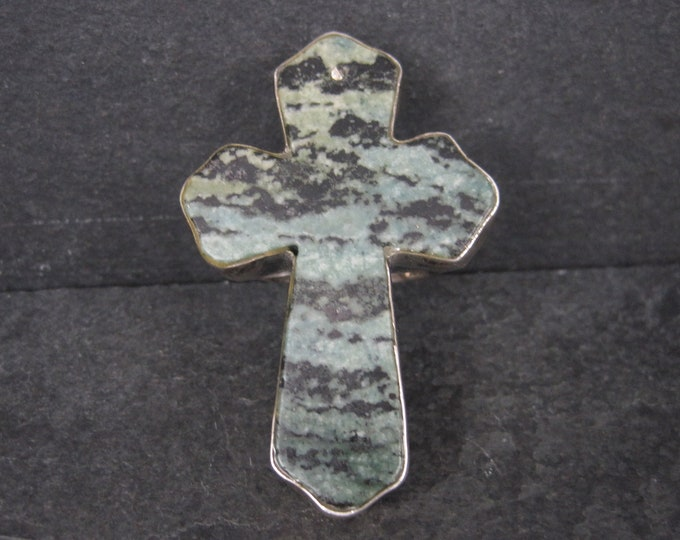 Huge Vintage Turquoise Cross Ring Size 7.5