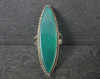 Long Vintage Sterling Green Onyx Ring Size 7.75