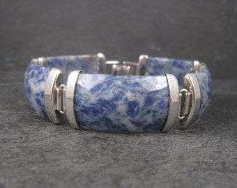 90s Faceted Sodalite Bracelet Sterling 8.5 Inches