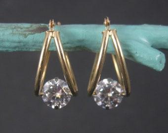 Vintage 14K Yellow Gold Cz Latch Earrings