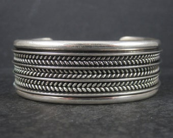 Vintage Sterling Navajo Cuff Bracelet 6.5 Inches Tom Hawk