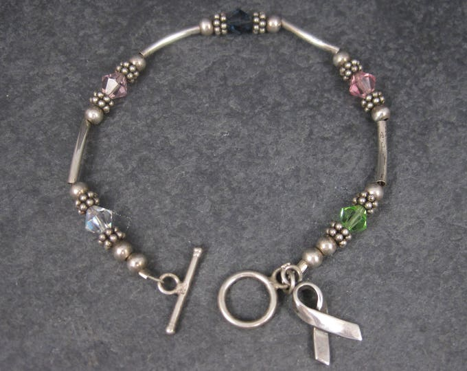 Sterling Crystal Awareness Ribbon Bracelet 7.25 Inches
