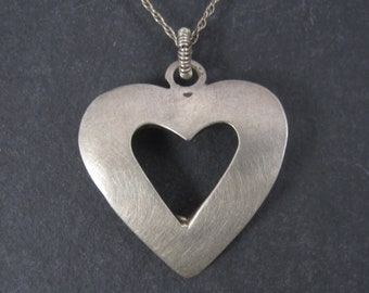 Vintage Brushed Sterling Heart Pendant Necklace