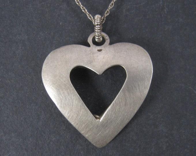 Vintage Brushed Sterling Heart Pendant Necklace
