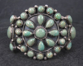 Vintage Southwestern Sterling Green Turquoise Cluster Cuff Bracelet Running Bear Shop 6.25 Inches