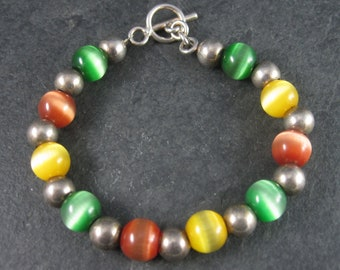 Vintage Sterling Cats Eye Bead Toggle Bracelet 7.5 Inches