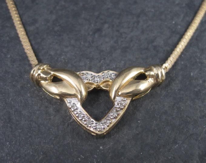 Vintage 10K Diamond Herringbone Heart Necklace