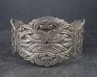 Ornate Vintage Mexican Sterling Panel Bracelet 7 Inches Ruiz