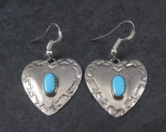 Vintage Southwestern Turquoise Heart Earrings