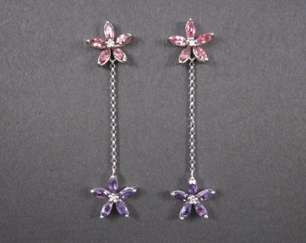 Vintage 10K Tourmaline Amethyst Flower Earrings