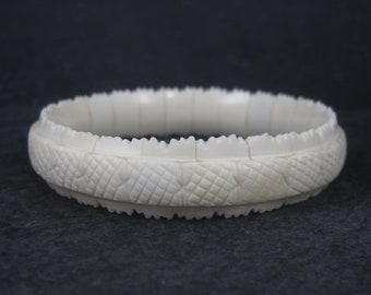 Vintage Chinese Export Carved Ox Bone Bangle Bracelet