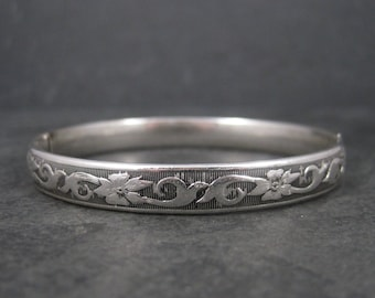 Vintage Art Deco Sterling Floral Bangle Bracelet Marathon Sterling