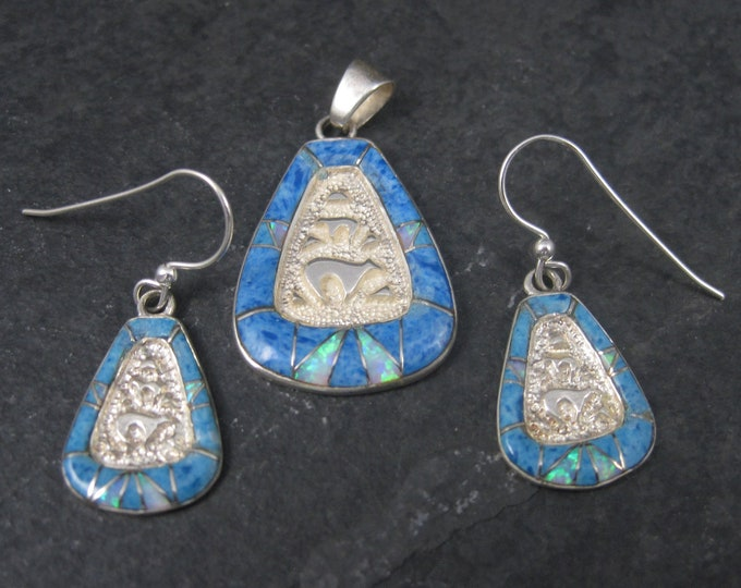 Vintage 90s Southwestern Sterling Denim Lapis Bear Pendant and Earrings Jewelry Set