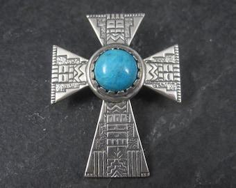 Vintage Southwestern Sterling Turquoise Cross Pendant Enhancer Carolyn Pollack Roderick Tenorio