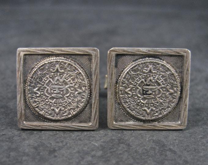 Vintage Sterling Mayan Calendar Cufflinks Cuff Links