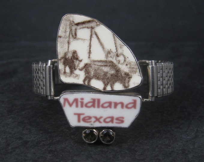 Recycled Porcelain Sterling Midland Texas Oil Rig Bracelet
