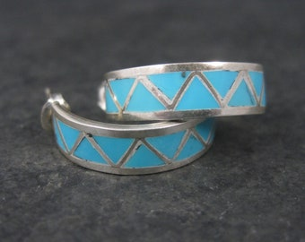 Vintage Southwestern Sterling Turquoise Inlay Half Hoop Earrings