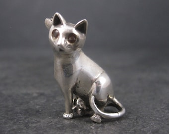 Vintage Sterling Garnet Cat Brooch Pin