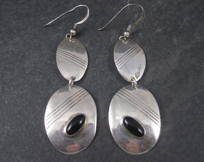 Long Vintage Sterling Navajo Onyx Earrings