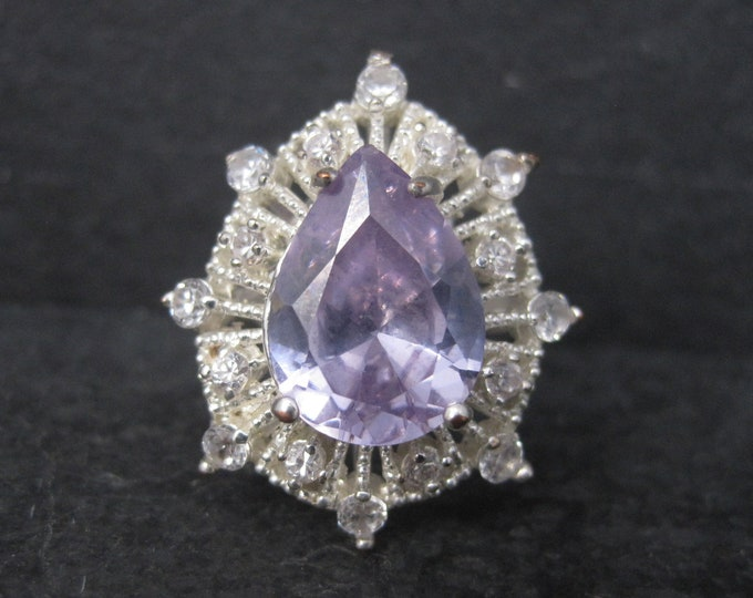 Vintage Sterling Purple Cubic Zirconia Cocktail Ring Size 8.5