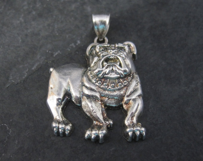 Vintage Sterling Silver Bulldog Pendant